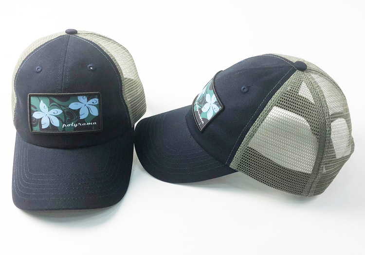 hawaiian trucker hat blue and gray thumb