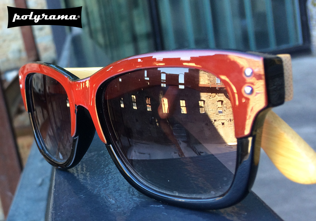 polyrama red and black bamboo wayfarer sunglass picture at mill city museum