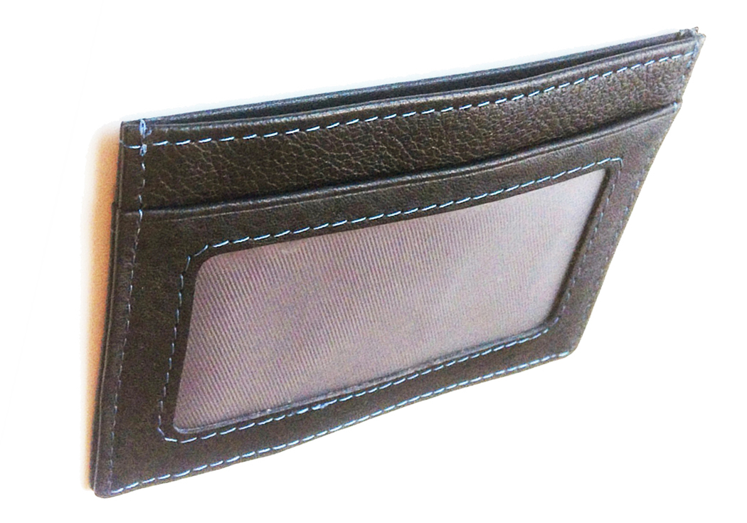 slim black leather wallet #4109 back view