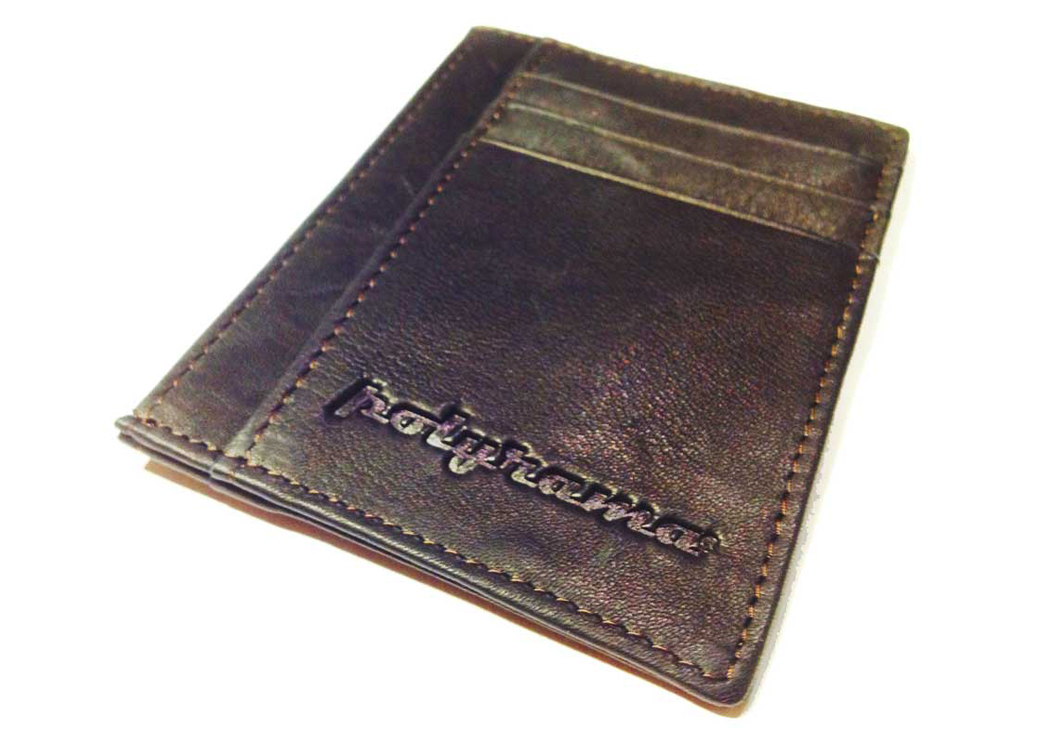 slim wallet brown front view