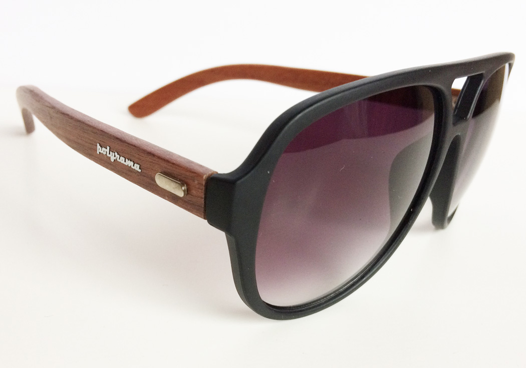 wooden aviator sunglasses black quarter view