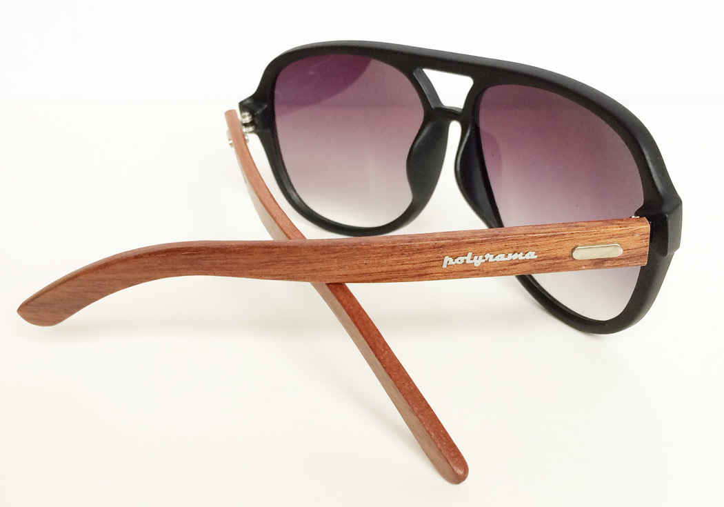 wooden aviator sunglasses black inside view