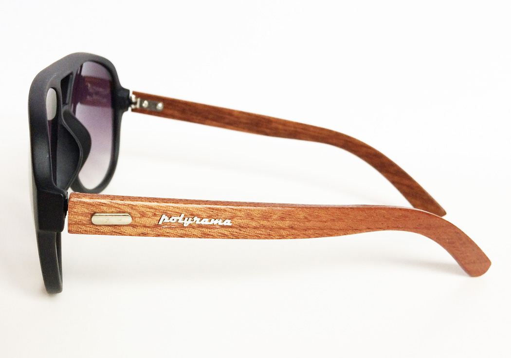 wooden aviator sunglasses black side view