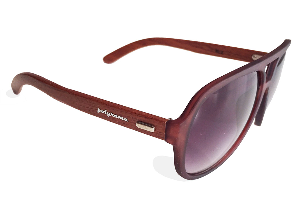 wooden aviator sunglasses brown quarter view