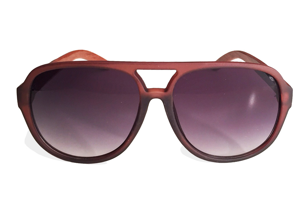 wooden aviator sunglasses brown front view