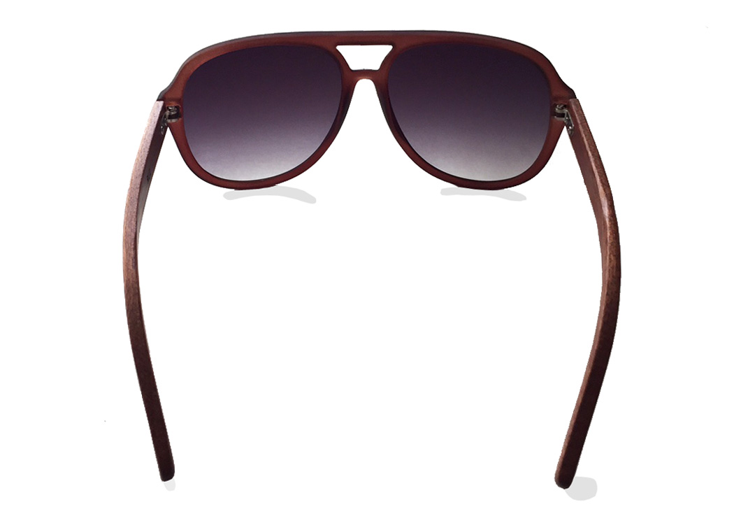 wooden aviator sunglasses brown inside view
